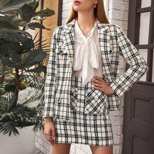 Tweed Blazer mit Knopfen vorn und Plaid Muster