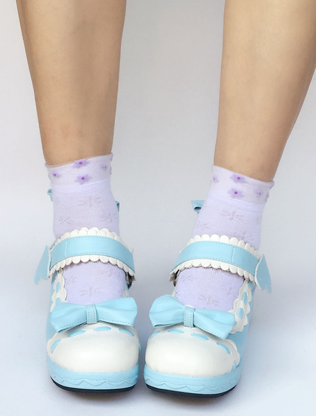 Milanoo Cute Lolita Shoes Sweet Light Blue Round Toe Platform Wedge Two Tone Bow Lolita Pumps