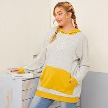 Sweatshirt mit Kaenguru Taschen, Kontrast und Kapuze