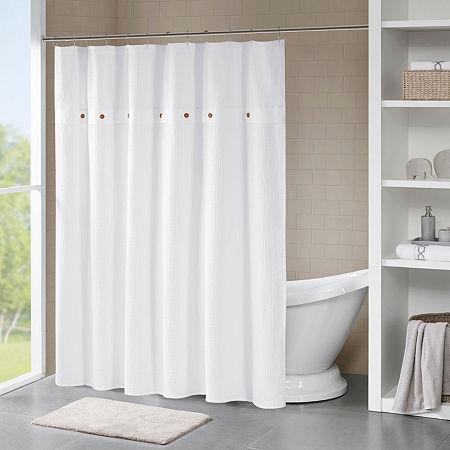 Madison Park Rianon Finley Cotton Waffle Weave Textured Shower Curtain, One Size , White