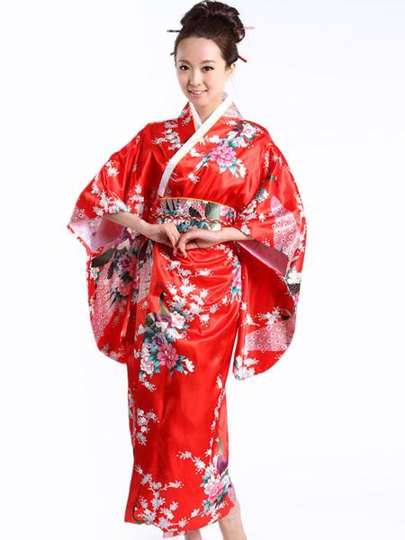 Milanoo Disfraces de kimono de pavo real rojo para mujer