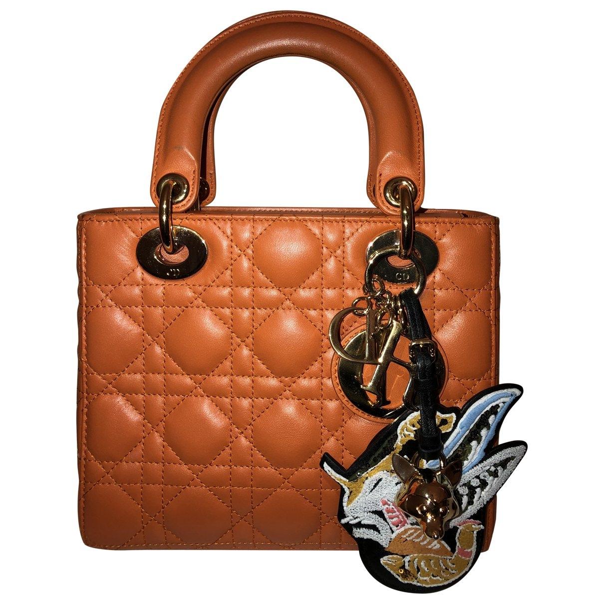 Dior Lady Dior Handtasche in  Orange Leder