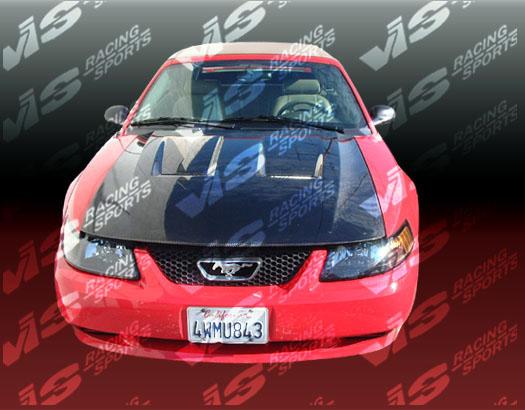 VIS Racing 99FDMUS2DGT-010C Carbon Fiber Heat Extractor Hood Ford Mustang 99-04