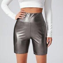 Shorts de mirada de cuero de cintura ancha