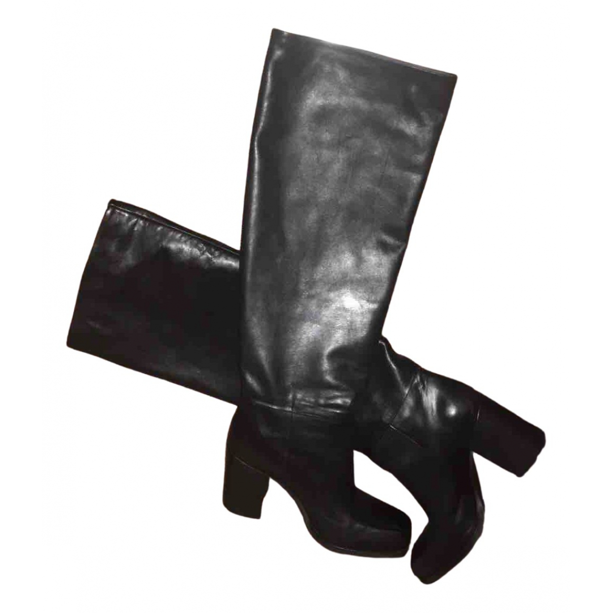 Non Signé / Unsigned \N Black Leather Boots for Women 38 IT