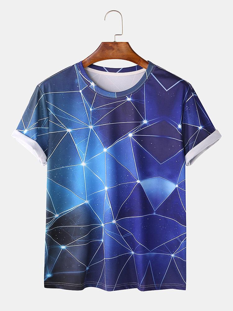 Mens Cool Star Geometric Constellation Space Print T-shirts