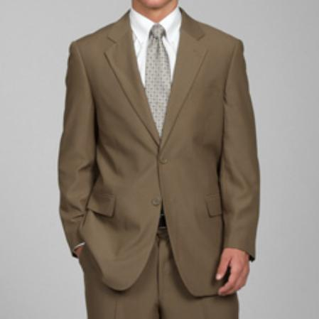 Carlo Lusso Mens Taupe 2Button Suit