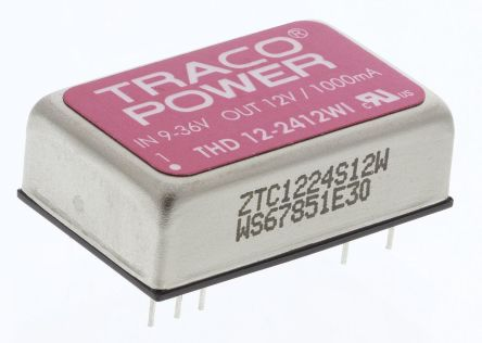 TRACOPOWER THD 12WI 12W Isolated DC-DC Converter Through Hole, Voltage in 9 → 36 V dc, Voltage out 12V dc