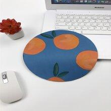 Orange Print Round Mouse Pad