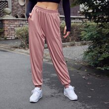 Einfarbige Sports Jogginghose mit elastischer Taille