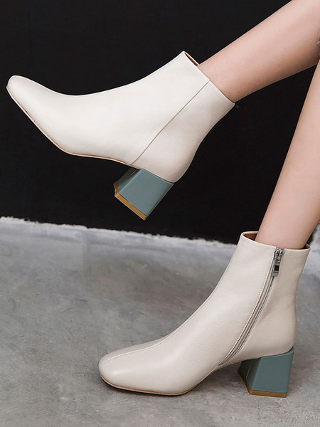 Milanoo Women Ankle Boots Cowhide Genuine Leather Square Toe 2 Block Heel Booties