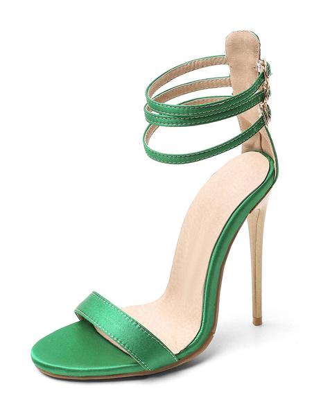 Milanoo Sandalias de tiras para mujer Sandalias de tacon de aguja con correa en el tobillo Zapatos de talla grande
