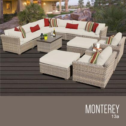 MONTEREY-13a-BEIGE Monterey 13 Piece Outdoor Wicker Patio Furniture Set 13a with 2 Covers: Beige and