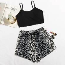 Cami Top & Shorts mit Band vorn und Leopard Muster Schlafanzug Set