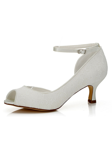 Milanoo White Bridal Shoes Peep Lace Ankle Strap Kitten High Heel Wedding Shoes For Women