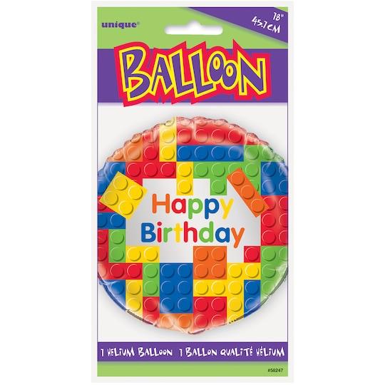 Foil Building Blocks Birthday Balloon, 18