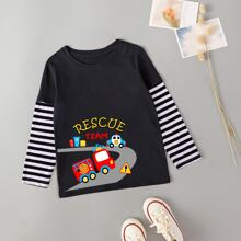 Toddler Boys Cartoon Graphic Striped Sleeve 2 In 1 Tee