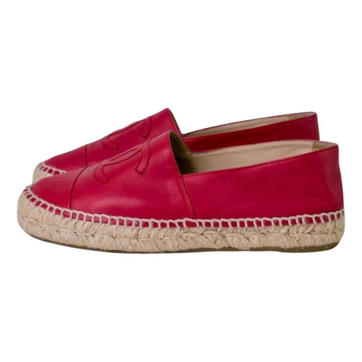Chanel - Espadrilles   pour femme en cuir - rouge