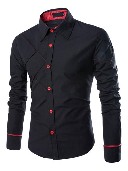 Milanoo Hombre Casual Camisa 2020 Estampado de Diamante Camisa de Manga Larga