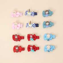 12pcs Toddler Girls Cartoon & Bow Decor Hair Clip