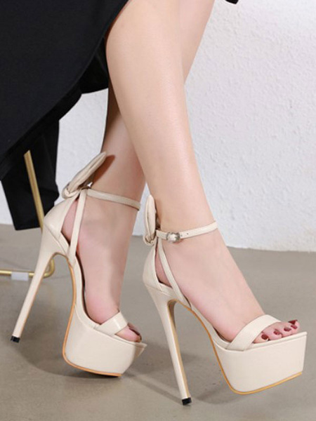 Milanoo Women Sexy Sandals High Heel Platform Open Toe Stiletto Heel Ankle Strap Sandal Shoes