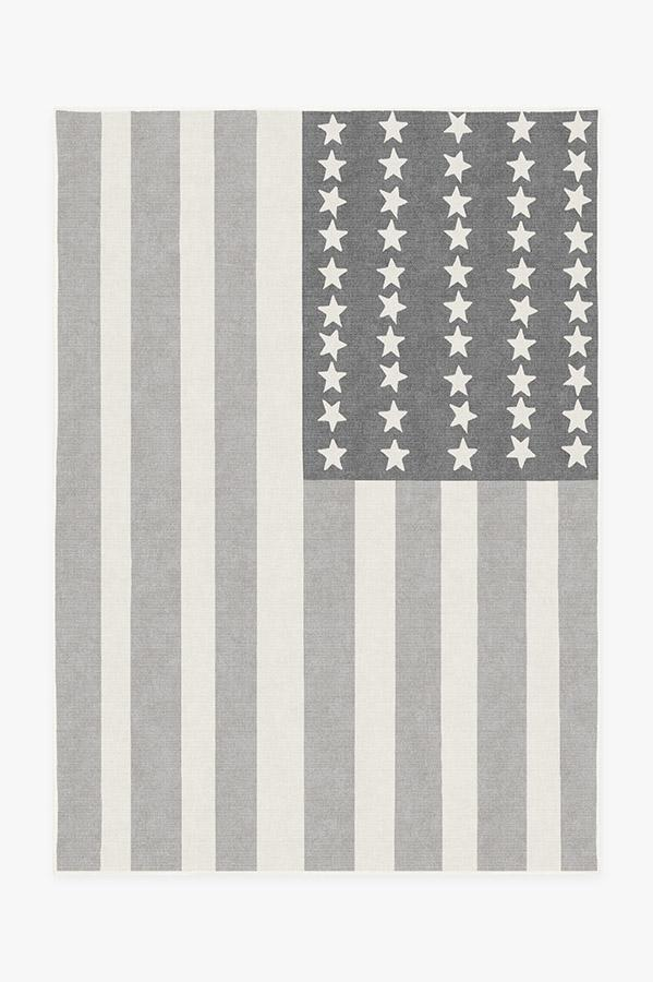 Washable Rug Cover   American Flag Grey Rug   Stain-Resistant   Ruggable   5'x7'