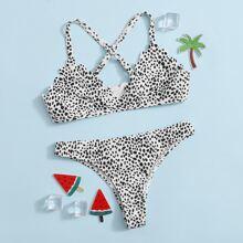 Bañador bikini de niñas con tiras cruzadas en abanico de lunares