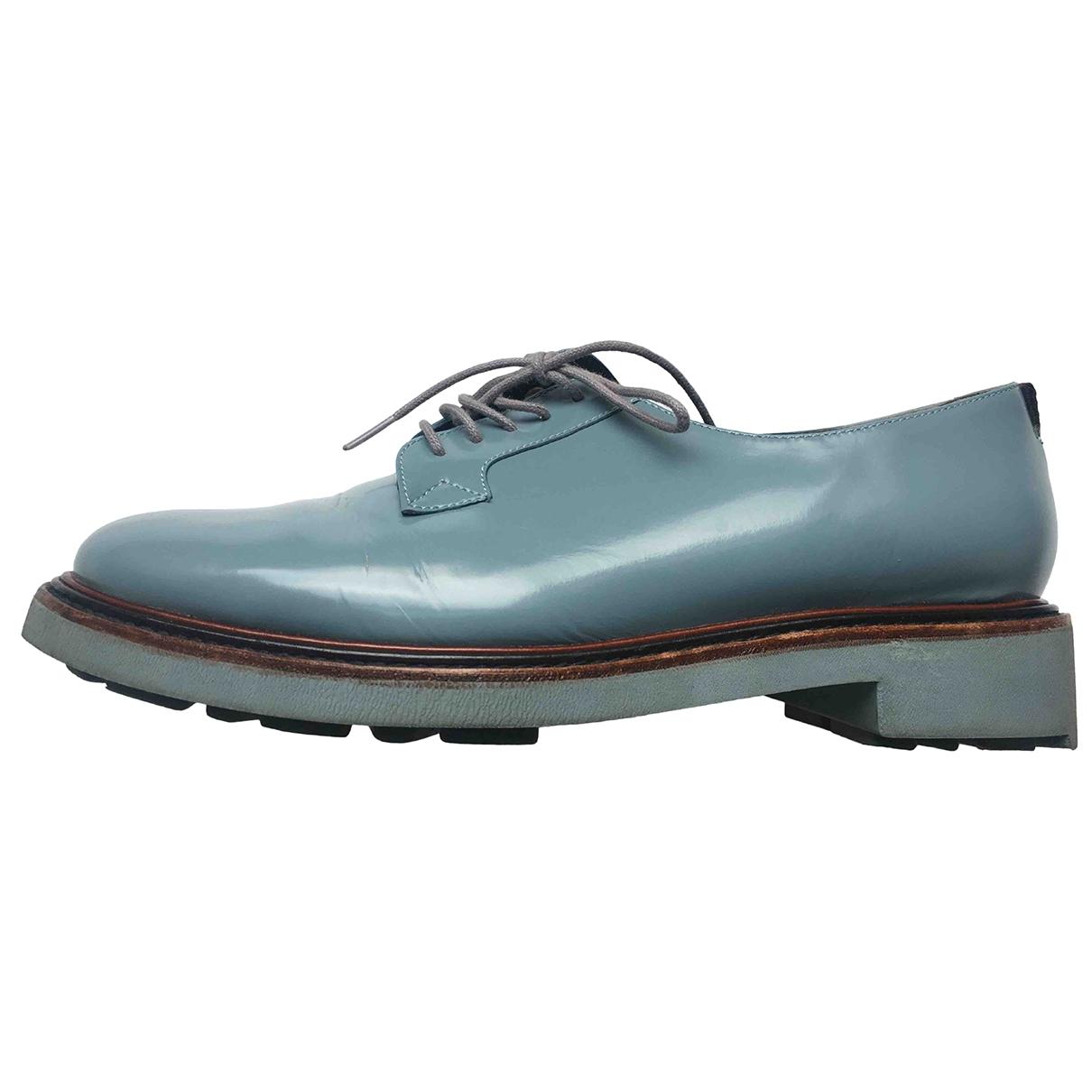 Robert Clergerie - Derbies   pour femme en cuir verni - bleu
