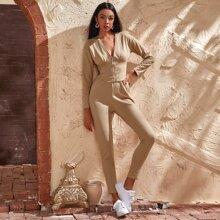Outfit de dos piezas Cremallera Liso Casual