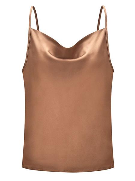Milanoo Women Sexy Camis Sleeveless Straps Solid Color Summer Top