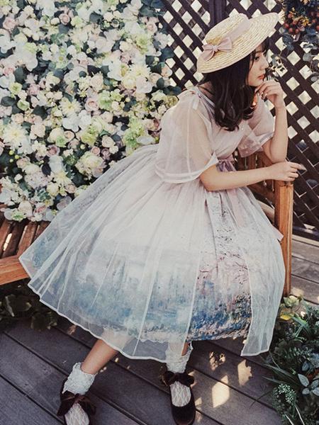 Milanoo Classic Lolita Cover Ups Monet Oil Painting Short Sleeve V Neck Lolita Outwears