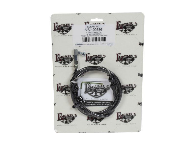 Lokar VS-100336 3ft Vintage Series Woven Cotton Throttle Cable (Black & White) Universal