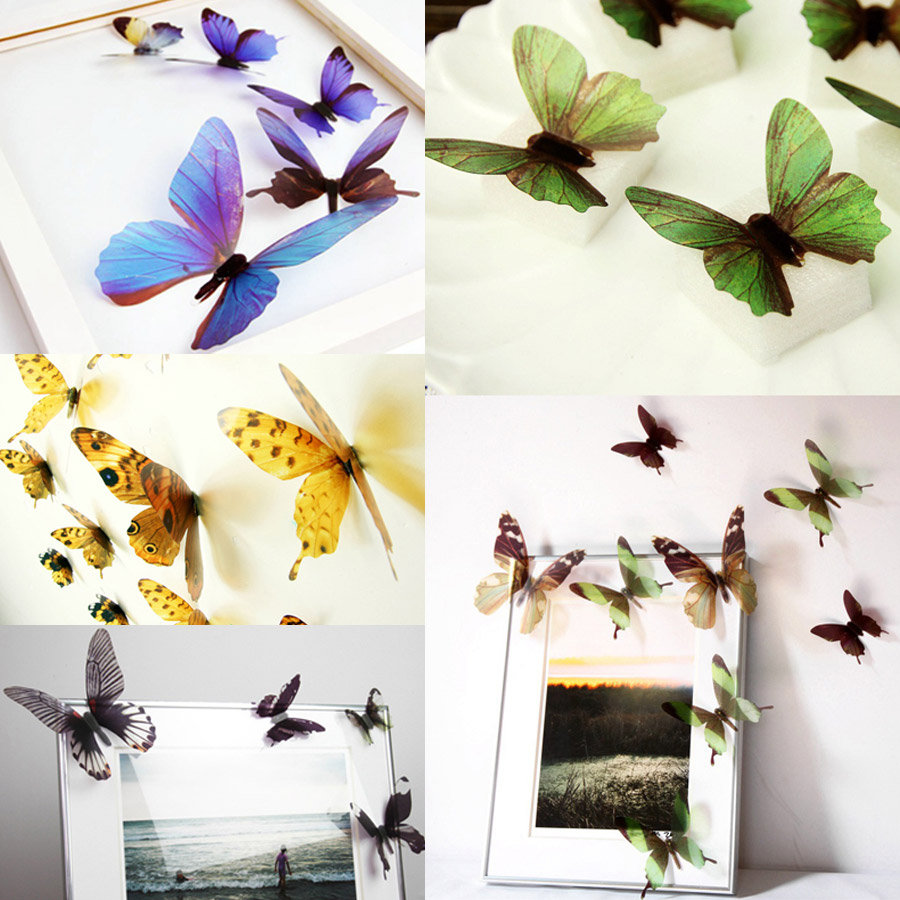 18Pcs 3D Butterfly Wall Stickers PVC Colorful Paste Home Decor