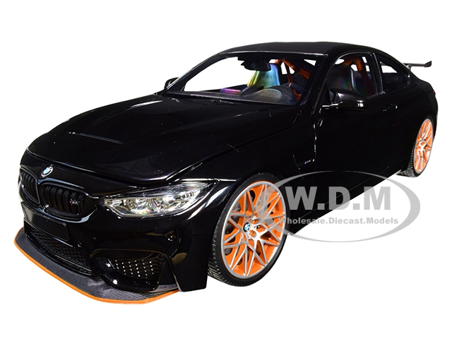 2016 BMW M4 GTS Metallic Black with Carbon Top and Orange Wheels Limited Edition to 402 pieces Worldwide 1/18 Diecast Model Car by Minichamps