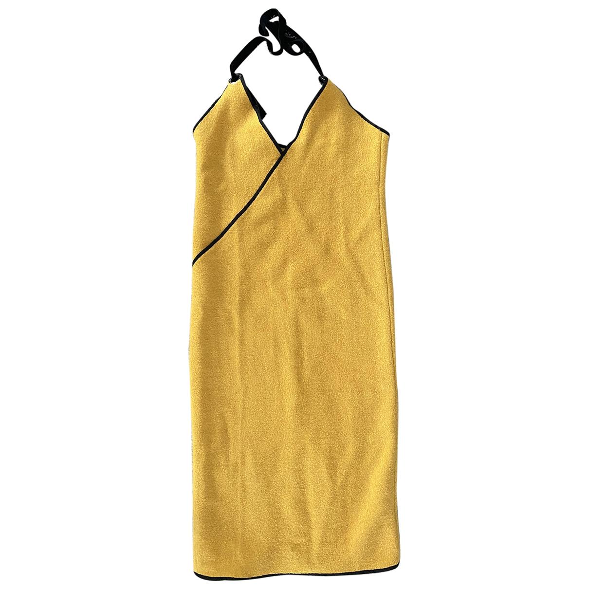 - Robe   pour femme en laine - jaune
