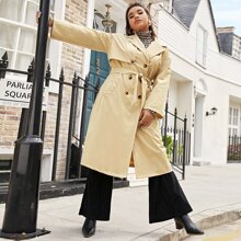 Plus Double Breasted Belted Trench Coat