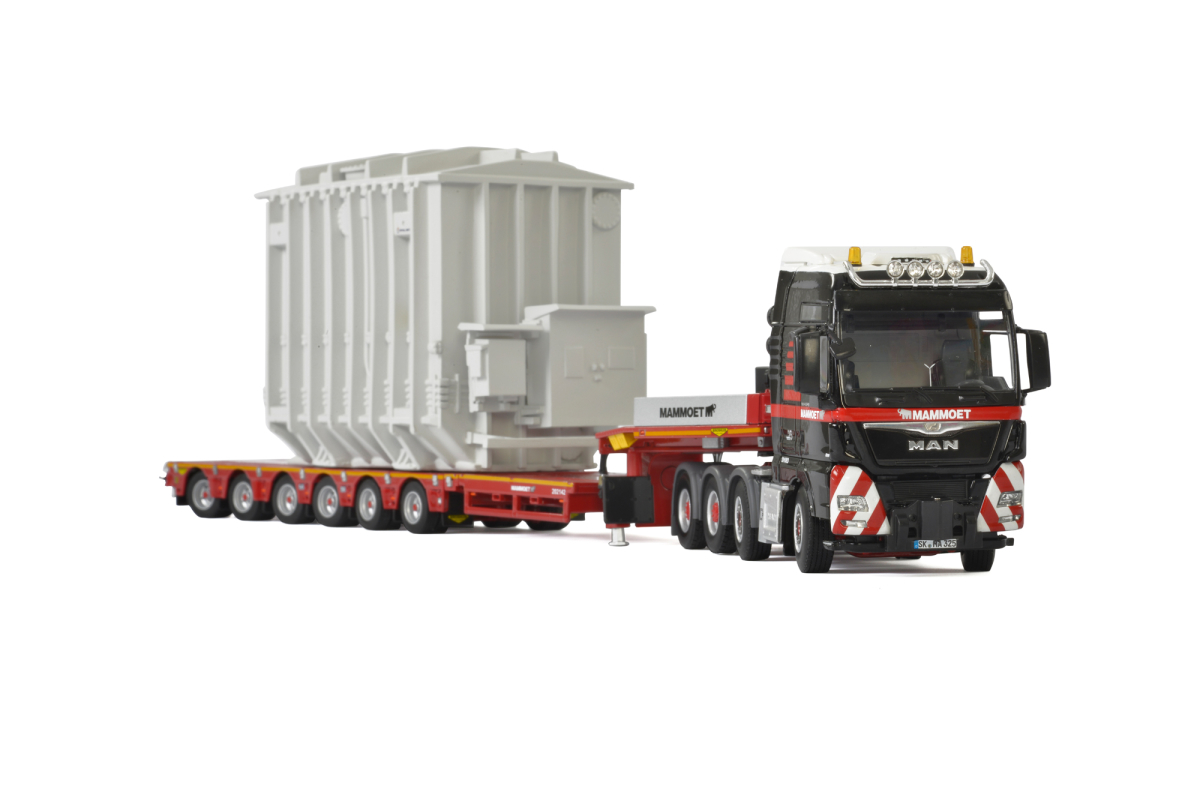 MAN TGX XXL 8x4 Mammoet Truck with 6 Axle Low Loader Trailer and Transformer 1/50 Diecast Model by WSI Models