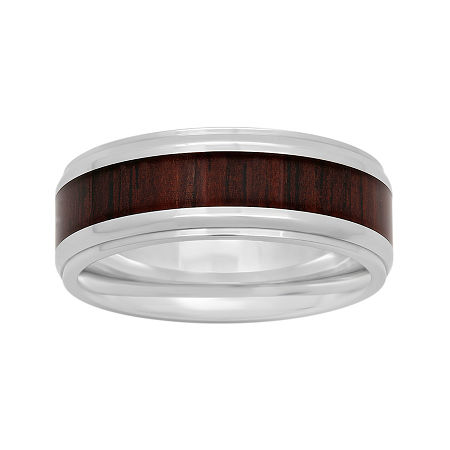 Mens Stainless Steel Inlay 8mm Comfort Fit Wedding Band, 11 1/2 , No Color Family