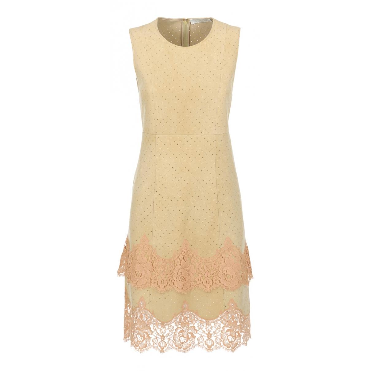 Chloe \N Kleid in  Beige Leder