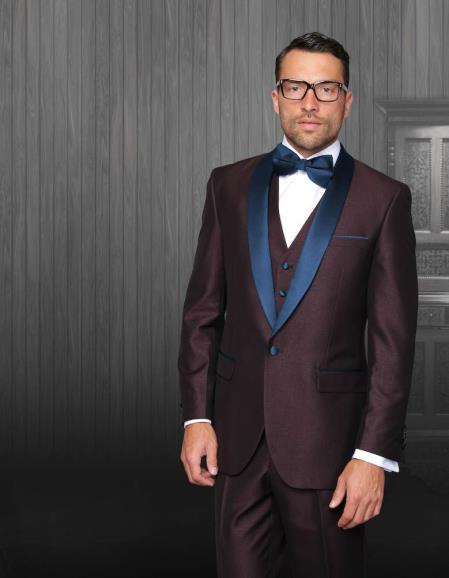 Mens Burgundy TuxedoLapel  Navy Blue