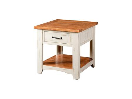 BM178131 Dual Tone Wooden End Table With 1 Drawer & 1 Shelf  White and