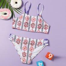 Girls Floral Ladder Cut-out Bikini Swimsuit