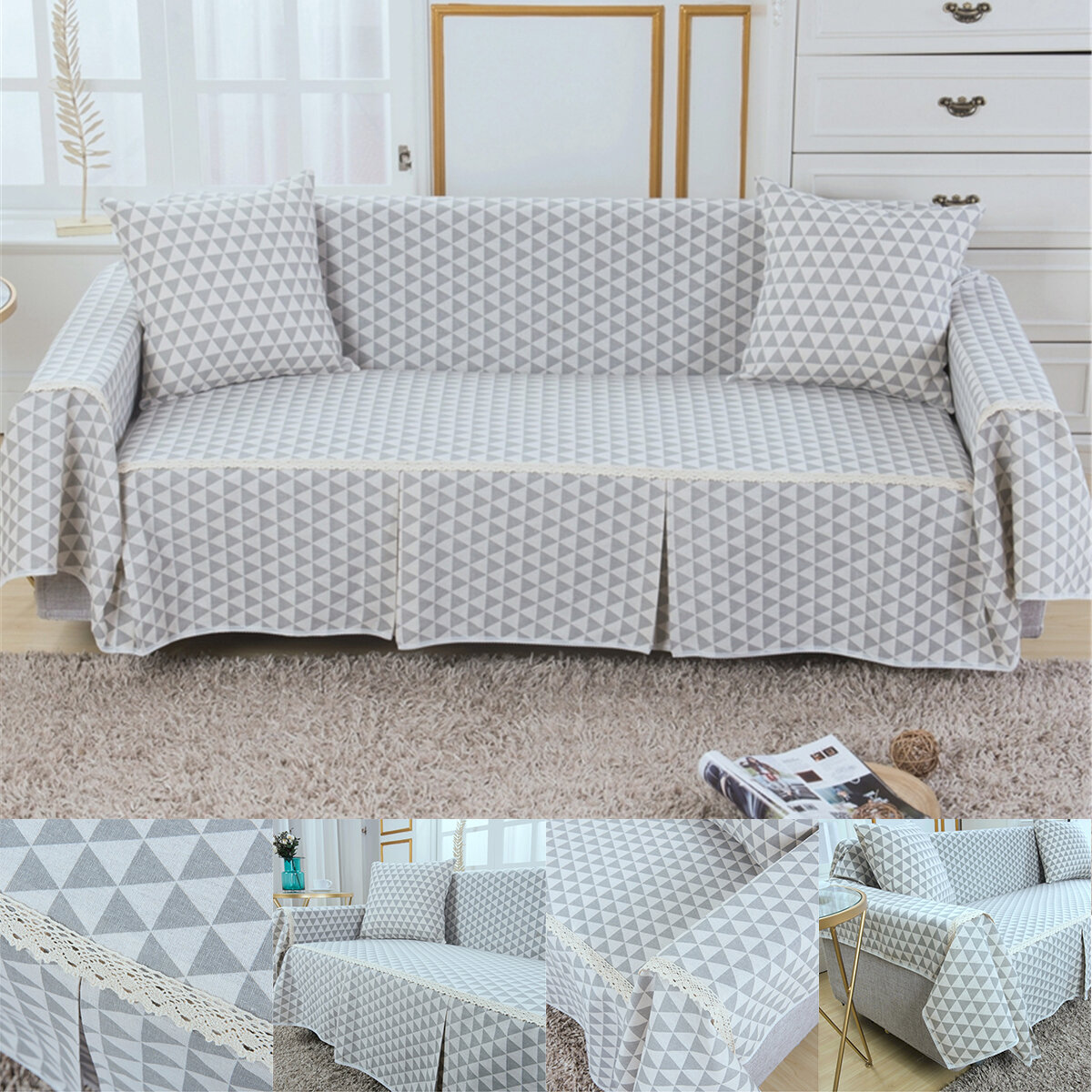 1/2/3 Seater Cotton Linen Sofa Cover Grey Blue Flower Printed Washable Fastness Sofa Seat Cover