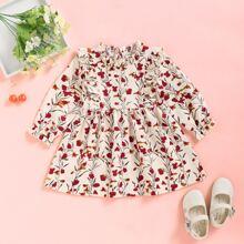 Baby Girl Corduroy Floral Print Ruffle A-line Dress