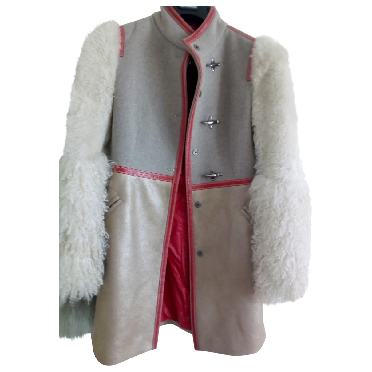 Fay - Manteau   pour femme en agneau de mongolie - beige