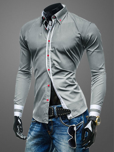 Milanoo Turndown Collar Long Sleeves Shaping Cotton Casual Shirt