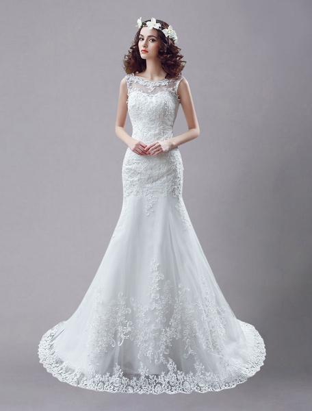 Milanoo Vestido de novia blanco de encaje sin espalda vestidos de novia rhinestones con cuentas de sirena vestido de novia