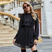 Chiffon Frill Neck Contrast Lace A-line Dress