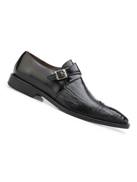 Mens Single Buckle Style Genuine Ostrich And Italian Calf Shoes Black