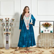 Samt Kleid mit Quasten Detail und Kontrast Einsatz